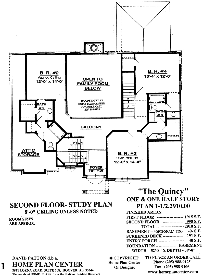 Home plan center quincy second floor for One and one half story house plans