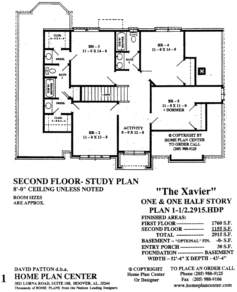 Home plan center xavier second floor for One and a half story house plans