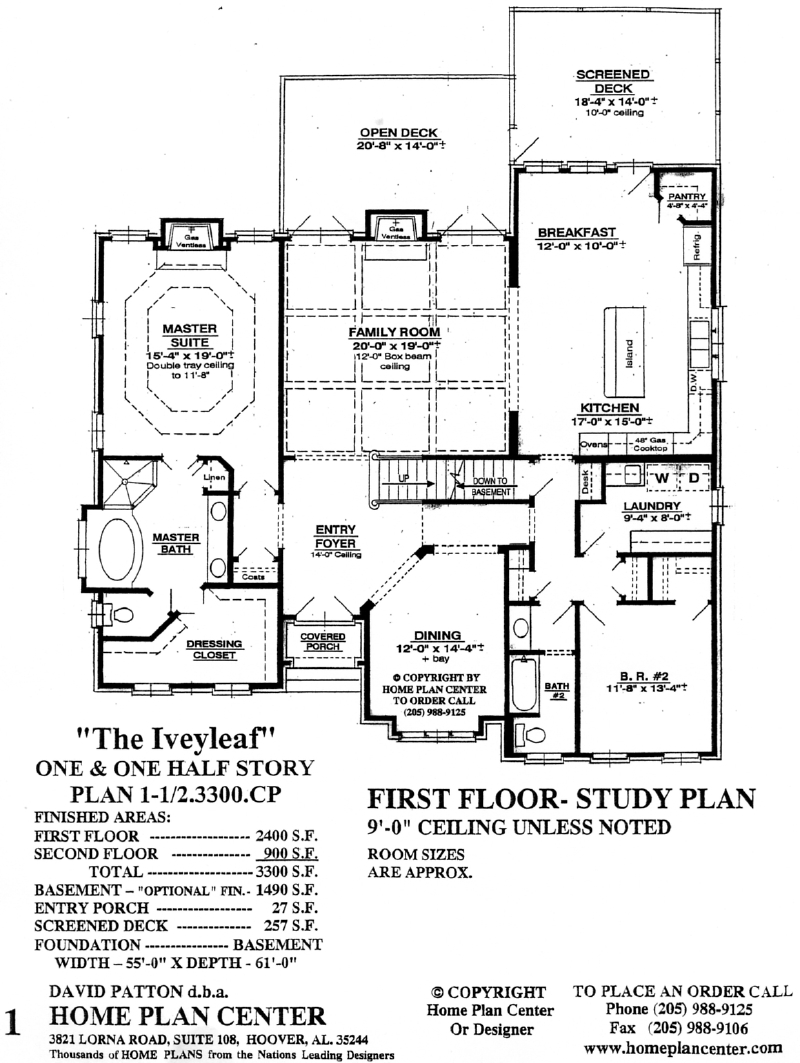 Home Plan Center Iveyleaf First Floor