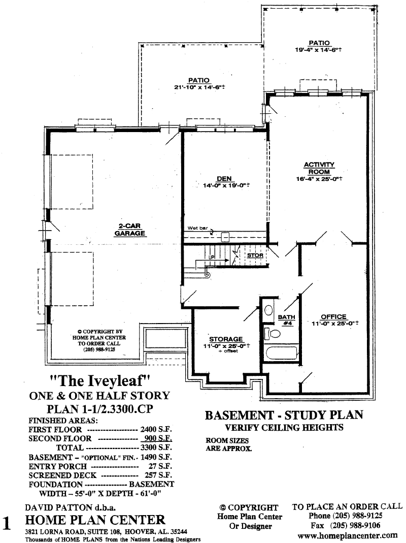 Home plan center iveyleaf basement for One and a half story house plans