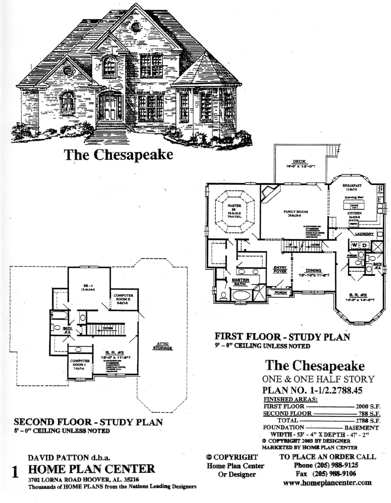 Home plan center 1 1 2 chesapeake for One and one half story house plans