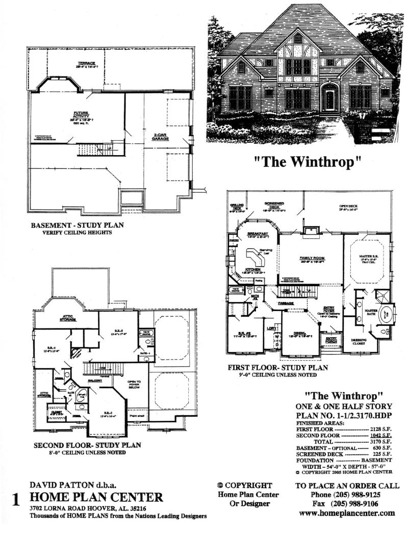 Home plan center 1 1 2 3170 winthrop for One and one half story house plans
