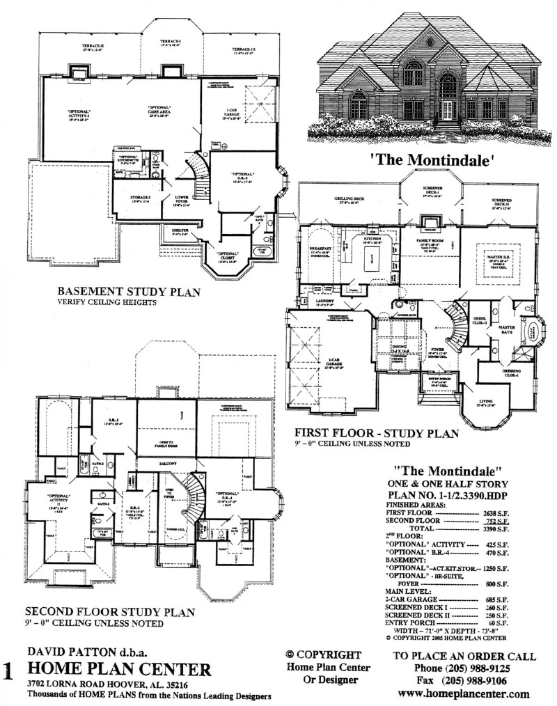 Home plan center 1 1 2 3390 montindale for House plans 1 1 2 story